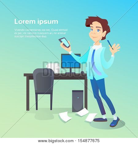 Business Man Hold Cell Smart Phone Chatting Office Workplace Interior, Social Network Communication Flat Vector Illustration