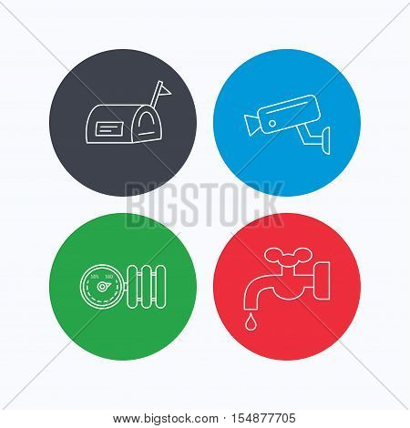 Water supply, video camera and mailbox icons. Radiator with regulator linear sign. Linear icons on colored buttons. Flat web symbols. Vector