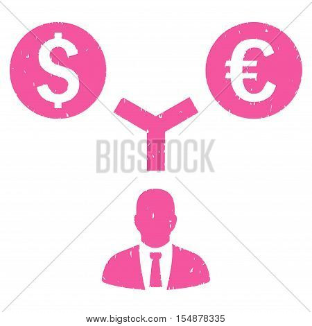 Currency Management grainy textured icon for overlay watermark stamps. Flat symbol with unclean texture. Dotted vector pink ink rubber seal stamp with grunge design on a white background.