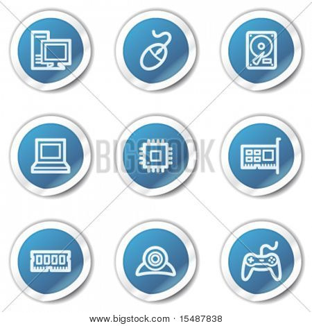 Computer web icons, blue sticker series