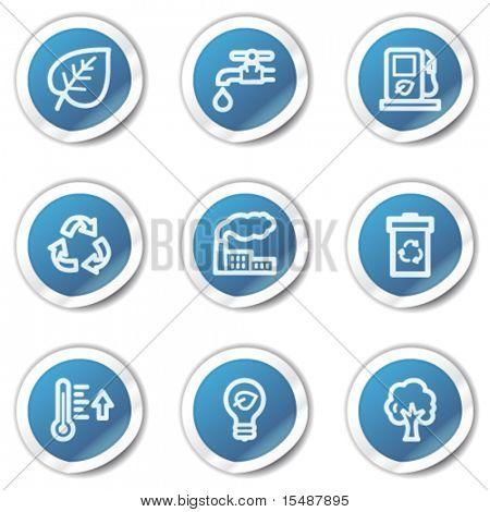Eco Web Icons-set 1, blaue Aufkleber-Serie