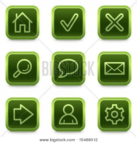 Basic web icons, green square buttons series