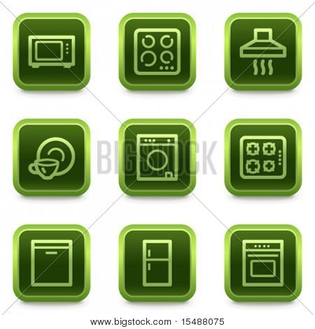 Home appliances web icons, green square buttons series