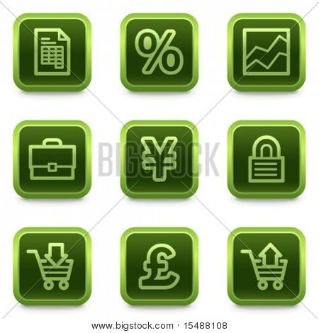 E-business web icons, green square buttons series