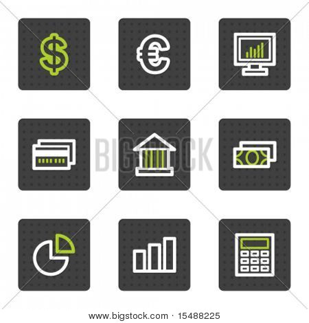 Finance web icons set 1, grey square buttons series