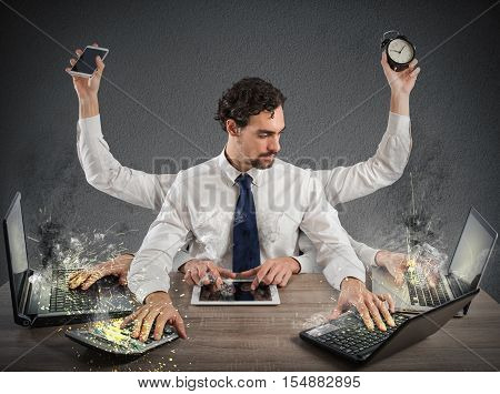Businessman stressed out from too much work