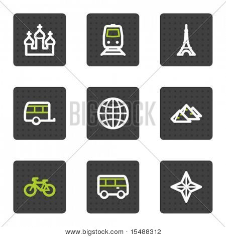 Travel web icons set 2, grey square buttons series