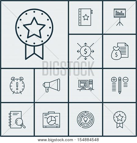 Set Of Project Management Icons On Money, Presentation And Computer Topics. Editable Vector Illustra