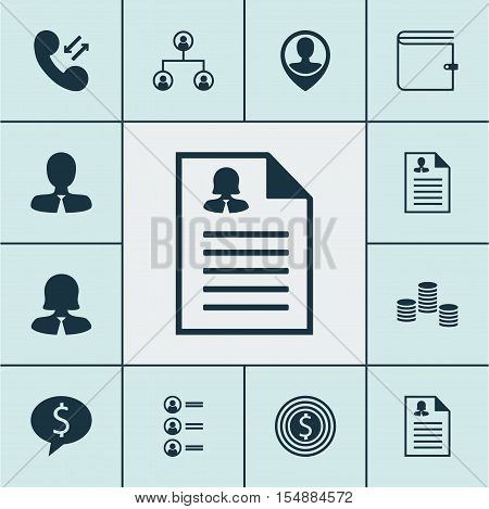 Set Of Human Resources Icons On Tree Structure, Cellular Data And Wallet Topics. Editable Vector Ill