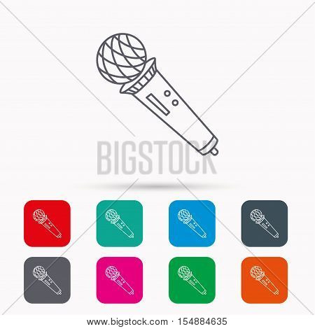 Microphone icon. Karaoke or radio sign. Linear icons in squares on white background. Flat web symbols. Vector