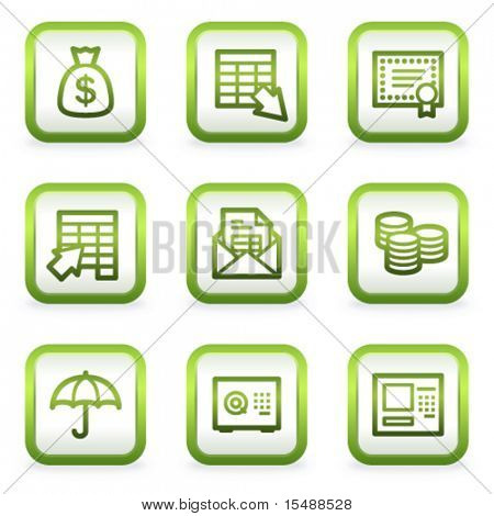 Banking web icons, square buttons, green contour