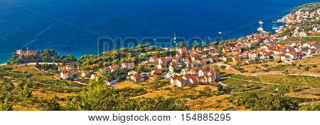 Bol on Brac island panoramic aerial view, dalmatia, croatia