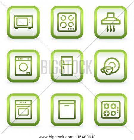 Home appliances web icons, square buttons, green contour