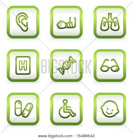 Medicine web icons set 2, square buttons, green contour