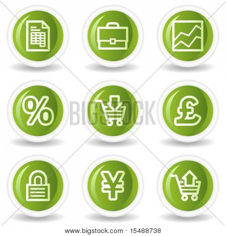 E-business web icons, green circle buttons