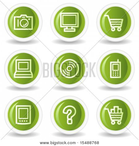Electronics web icons set 1, green circle buttons