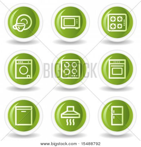Home appliances web icons, green circle buttons