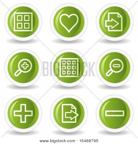 Image viewer web icons set 1, green circle buttons