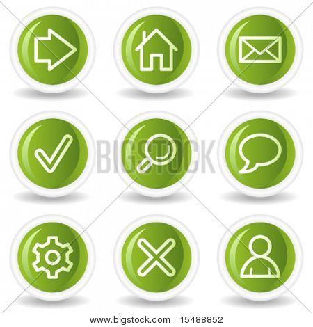 Basic web icons, green circle buttons