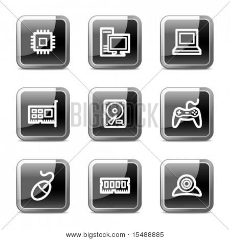 Computer web icons, black square glossy buttons series