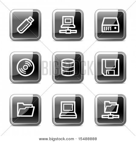 Drives and storage web icons, black square glossy buttons series