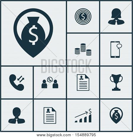 Set Of Hr Icons On Business Goal, Messaging And Cellular Data Topics. Editable Vector Illustration.