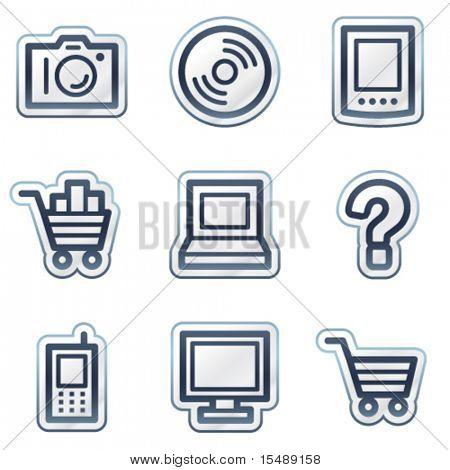 Electronics web icons set 1, deep blue contour sticker series