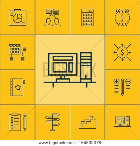 Set Of Project Management Icons On Growth, Schedule And Time Management Topics. Editable Vector Illu