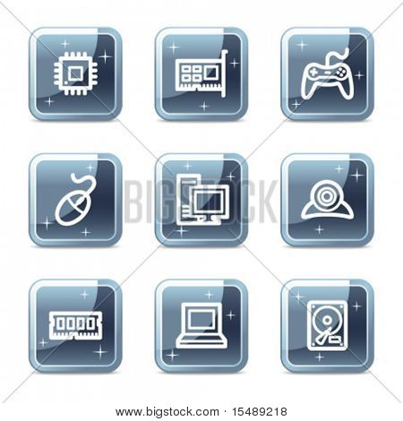 Computer web icons, mineral square glossy buttons