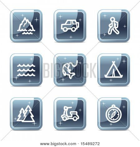 Travel web icons set 3, mineral square glossy buttons