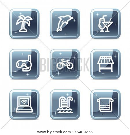 Vacation web icons, mineral square glossy buttons