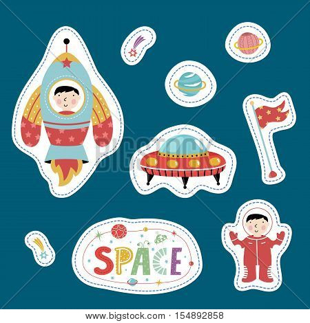 Space cartoon stickers. Flying saucer, rocket with boy, flag, astronaut, falling star or comet, Saturn vector illustration isolated on blue background. Counters or tokens for table games, price tags