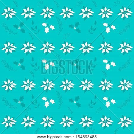 Christmas pattern with white and blue poinsettia flowers on a deep sky blue background.