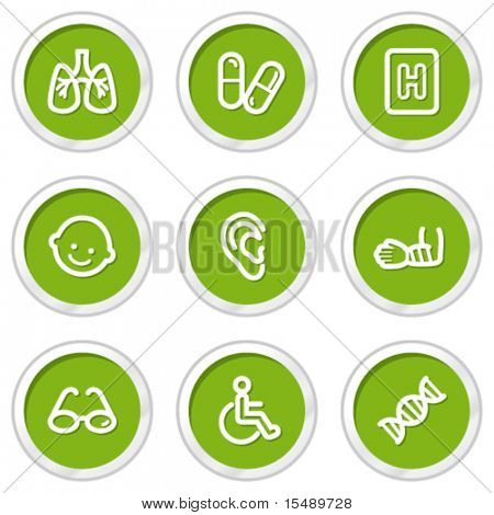 Medicine web icons set 2, green circle buttons