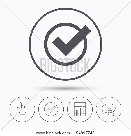 Tick icon. Check or confirm symbol. Chat speech bubbles. Check tick, report chart and hand click. Linear icons. Vector