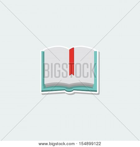 School symbol - open book. School education, reminder, diary with bookmark, textbook colorful single icon. Basic element for web isolated on white background vector illustration in flat design.