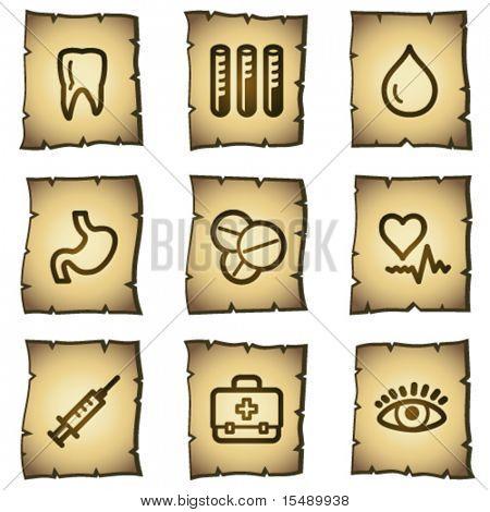 Medicine web icons set 1, papyrus series