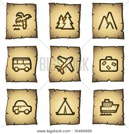 Travel web icons set 1, papyrus series