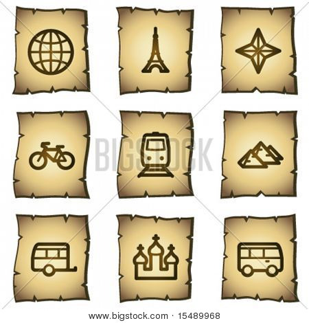 Travel web icons set 2, papyrus series