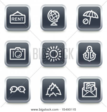 Travel web icons set 5, grey square buttons
