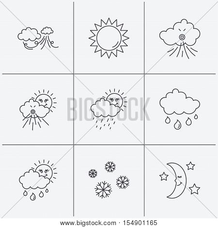 Weather, sun and rain icons. Moon night, clouds linear signs. Strong wind, snowflakes and water drops flat line icons. Linear icons on white background. Vector