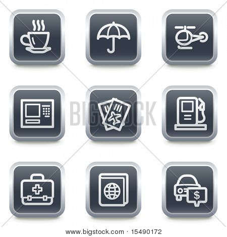 Travel web icons set 4, grey square buttons