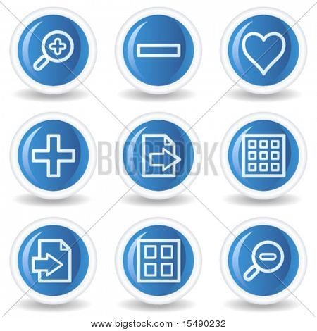 Image viewer web icons set 1, blue glossy circle buttons