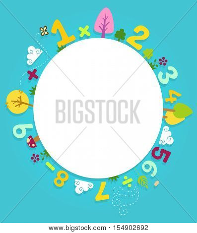 Colorful Illustration Featuring a Circular Board Decorated with Trees, Flowers, Mushrooms, Numbers, and Mathematical Equations