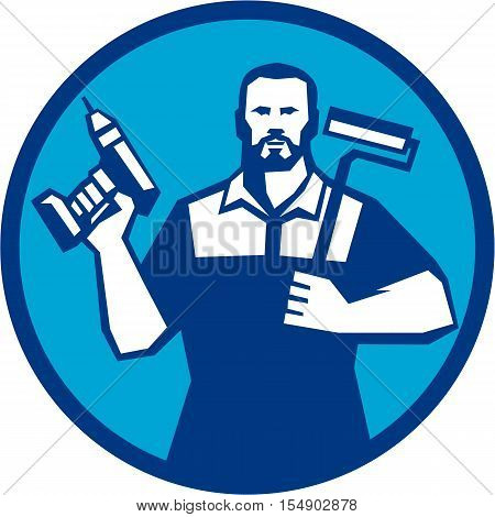 Illustration of a handyman with beard moustache facial hair holding paint roller on shoulder and cordless drill viewed from front set inside circle on isolated background done in retro style.
