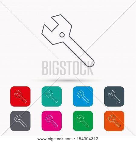 Wrench key icon. Repair fix tool sign. Linear icons in squares on white background. Flat web symbols. Vector