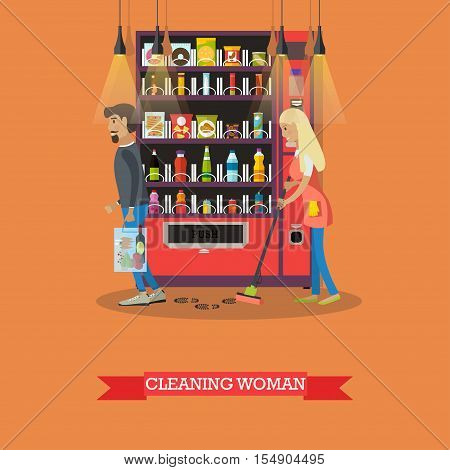 People cleaning floor in store while customers shopping. Vector illustration in flat retro style. Floor care and cleaning service in supermarket shop.