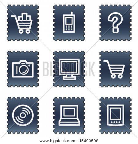 Electronics web icons set 1, navy stamp series