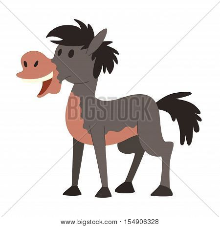 Cartoon horse on white background character. Cartoon horse vector. Cute cartoon horse farm animals happy mane stallion character design. Adorable cartoon horses equestrian, mammal, thoroughbred.
