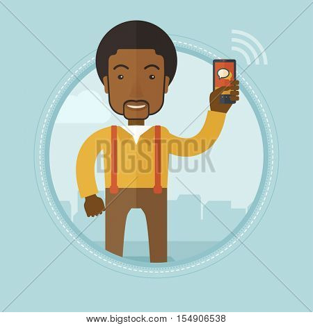 An african businessman using mobile phone on a city background. Man holding mobile phone. Businessman chatting on mobile phone. Vector flat design illustration in the circle isolated on background.